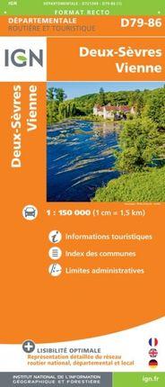 D79-86 DEUX-SÈVRES / VIENNE 1:150.000 -ROUTIER FRANCE DÉPARTEMENTALE -IGN