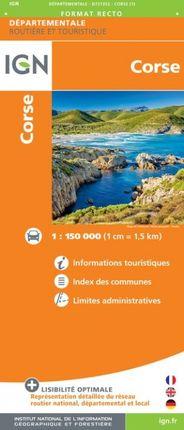 CORSE 1:150.000 -ROUTIER FRANCE DÉPARTEMENTALE -IGN