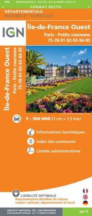 D75-95 ILE-DE-FRANCE OUEST 75-78-91-92-93-94-95 1:150.000 -DÉPARTEMENTALE -IGN