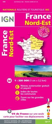 802 FRANCE NORD-EST 1:320.000 -ROUTIER FRANCE NATIONALE -IGN