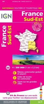 804 FRANCE SUD-EST 1:320.000 -ROUTIER FRANCE NATIONALE -IGN