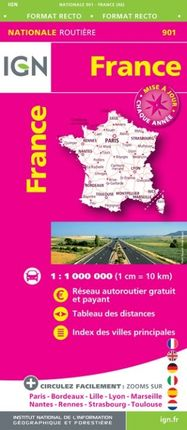 901 FRANCE 1:1.000.000 -ROUTIER FRANCE NATIONALE -IGN