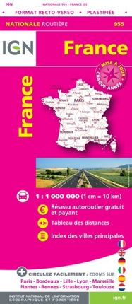 955 FRANCE 1:1.000.000 -ROUTIER FRANCE NATIONALE -IGN