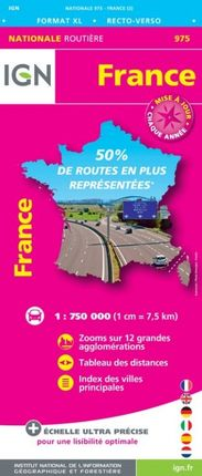 975 FRANCE 1:750.000 -ROUTIER FRANCE NATIONALE -IGN