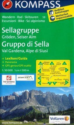 59 SELLAGRUPPE GRUPPO DI SELLA 1:50.000 -KOMPASS