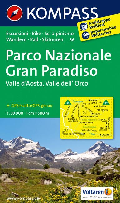 86 GRAN PARADISO, PARCO NAZIONALE. 1:50.000 -KOMPASS
