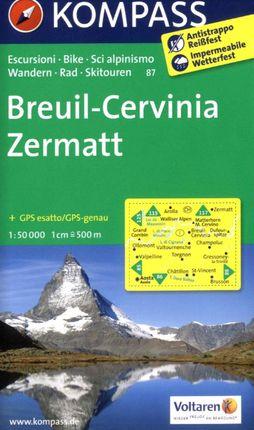 87 BREUIL-CERVINIA, ZERMATT 1:50.000 -KOMPASS