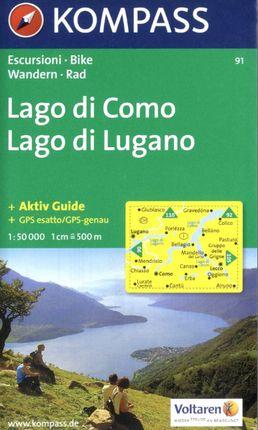 91 LAGO DI COMO/LAGO DI LUGANO 1:50.000 -KOMPASS