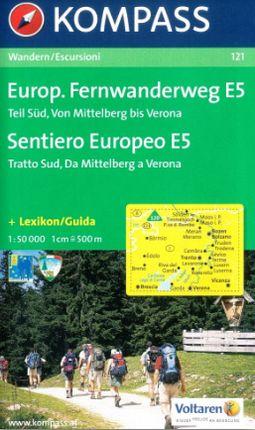 121 EUROPAISCHER 1:50.000 FERNWANDERWEG E5 -KOMPASS