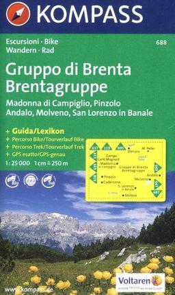 688 IL GRUPO DI BRENTA - 1:25.000 -KOMPASS