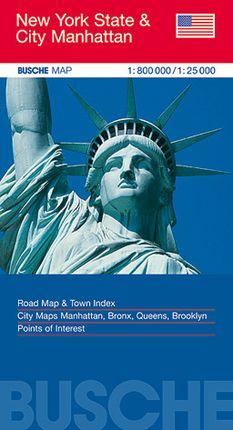 NEW YORK STATE 1:800.000 & CITY MANHATTAN 1:25.000 -BUSCHE MAP