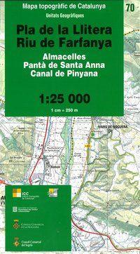 70 PLA DE LA LLITERA, RIU DE FARFANYA 1:25.000  -UNITATS GEOGRAFIQUES -ICC