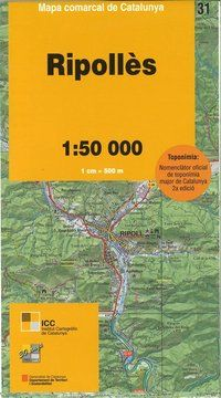 31 RIPOLLES 1:50.000 -MAPA COMARCAL CATALUNYA ICC