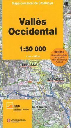 40 VALLÈS OCCIDENTAL 1:50.000 -MAPA COMARCAL DE CATALUNYA -ICGC