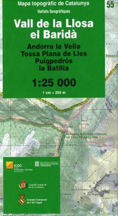 55 VALL DE LA LLOSA, EL BARIDÀ 1:25.000 -ICGC