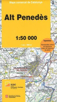 03 ALT PENEDES 1:50.000 -MAPA COMARCAL CATALUNYA -ICGC
