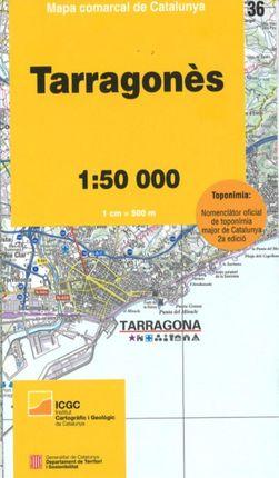 36 TARRAGONÈS 1:50.000 -MAPA COMARCAL CATALUNYA -ICGC
