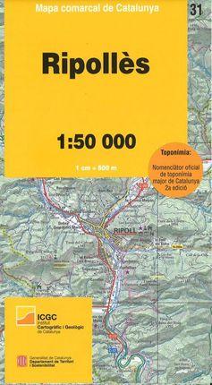 31 RIPOLLÈS 1:50.000 -MAPA COMARCAL CATALUNYA -ICGC