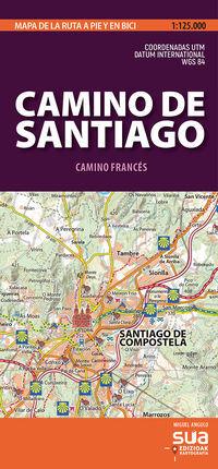 CAMINO DE SANTIAGO 1:125.000 -MAPA DE LA RUTA A PIE Y EN BICI
