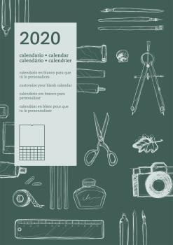 2020 CALENDARIO EN BLANCO [VERD][CAS-ENG-POR-FRA]