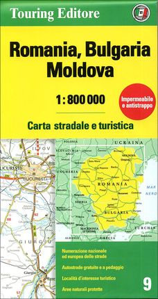 ROMANIA, BULGARIA, MOLDOVA 1:800.000 -TOURING CLUB ITALIANO