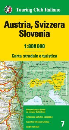 AUSTRIA, SVIZZERA, SLOVENIA 1:800.000 -TOURING CLUB ITALIANO