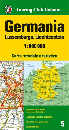 GERMANIA, LUSSEMBURGO, LIECHTENSTEIN 1:800.000 -TOURING CLUB ITALIANO