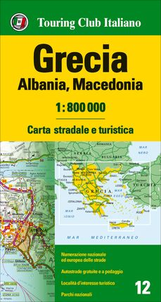 GRECIA - ALBANIA - MACEDONIA 1:800.000 -TOURING CLUB ITALIANO