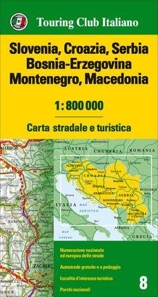 SLOVENIA - CROAZIA - SERBIA - BOSNIA-ERZEGOVINA - MONTENEGRO - MACEDONIA 1:800.000 -TOURING CLUB ITALIANO