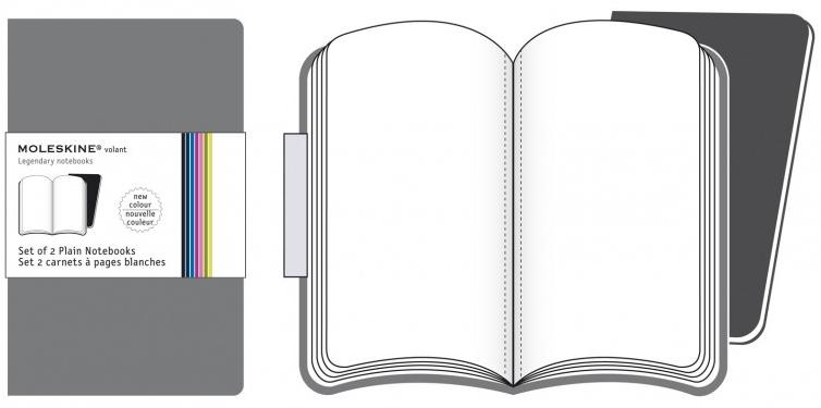2 XSMALL PLAIN GRIS VOLANT [6,5X10,5] LISAS -MOLESKINE