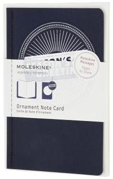 ORNAMENT NOTE CARD P [POSTAL] SELLO DE TEMPORADA REDONDA (AZUL) -MOLESKINE