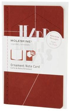 ORNAMENT NOTE CARD P [POSTAL] EXAGONO FELICES VACACIONES (ROJA) -MOLESKINE