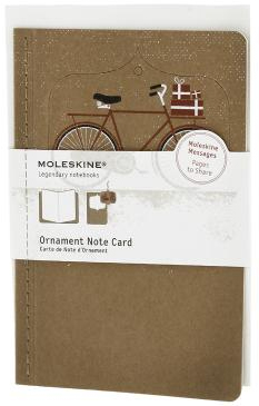 ORNAMENT NOTE CARD [POSTAL] BICICLETA NEVADA (TOSTADA) -MOLESKINE