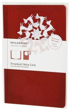ORNAMENT NOTE CARD [POSTAL] FOX TROT (ZORROS) (ROJA) -MOLESKINA