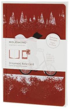 ORNAMENT NOTE CARD [POSTAL] OSO EN BICICLETA (ROJA) -MOLESKINE