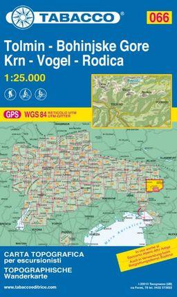 066 TOLMIN, BOHINJSKE GORE, KRN, VOGEL, RODICA 1:25.000 -TABACCO