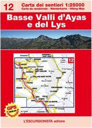 12 BASSE VALLI D'AYAS E DEL LYS 1:25.000- CARTA DEI SENTIERI ESCURSIONISTA