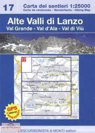 17 ALTE VALLI DI LANZO 1:25.000- CARTA DEI SENTIERI ESCURSIONISTA