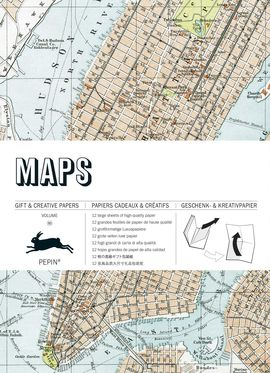 60. MAPS. GIFT & CREATIVE PAPERS -GIFT WRAPPING PAPER (12 SHEETS 50X70)