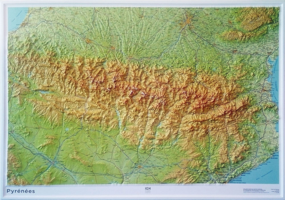 Mapa De Los Pirineos.Pyrenees Pirineos Relleu Relieve 1 375 000 Cartes En Relief Ign Libreria Altair